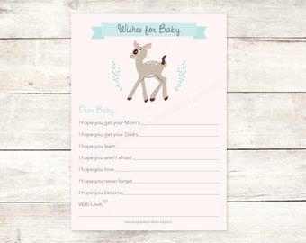 wishes for baby shower printable baby girl DIY deer pink aqua blue woodland animal cute well wishes digital shower games - INSTANT DOWNLOAD