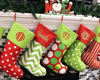 Personalized Christmas Stocking Monogrammed Christmas Stockings  Christmas Stockings Personalized Family Christmas Stocking Xmas Stockings