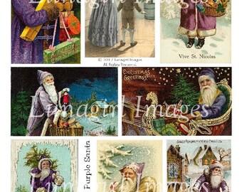 PURPLE SANTA, vintage Christmas digital collage sheet, DOWNLOAD vintage images, Victorian Christmas cards, holidays, antique ephemera art