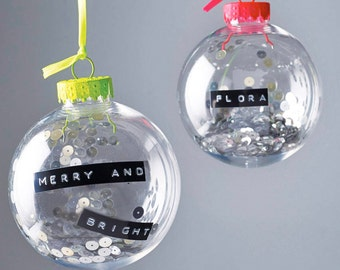 Dymo Tape Bauble, Personalised Message Decoration, Retro Theme Decoration, Neon and Sequin, Clear Bauble, Wedding Favour, Christmas Decor