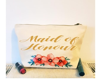 Personalised Maid of Honour Gift Make Up Bag, Makeup Cosmetic Bag, Bridal Party Gift, Bridesmaid Gift Makeup Bag, Toiletry Bag