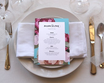 Floral Romantic Menu Pretty Unique Wedding Bridal Shower