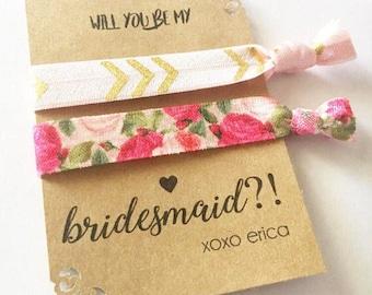 Bridesmaid Elastics, Will You Be My Bridesmaid, Bridal Party Ponytails