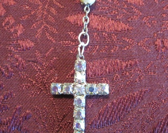 Vintage Pearl Rosary With Aurora Borealis Cross