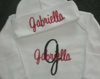PERSONALIZED Newborn Gown and Hat set Monogrammed