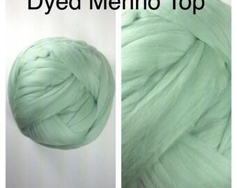 Mint Merino Top  / Dyed Merino Roving / Pastel Green Merino Felting / 2oz 4oz 8oz