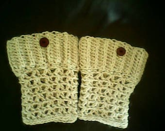 Crocheted boot cuffs, beige alpaca or turquoise alpaca/wool blend with buttons
