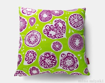 """Frutti Print Pillow or Pillow Cover in Lime Green, 18 inch by 18"""". Purple and White. Cotton Linen blend with invisible zipper"""