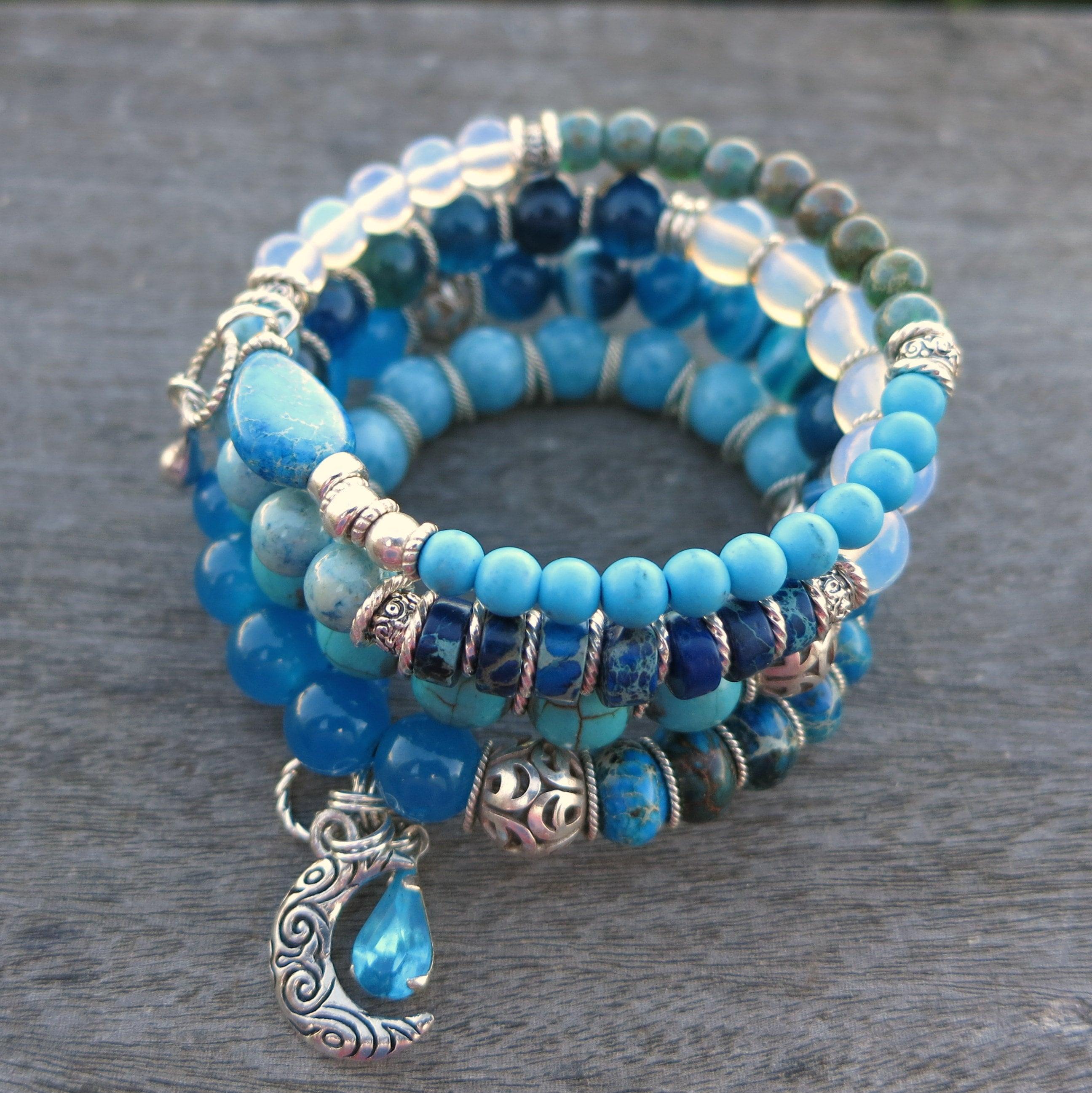 Blue Moon memory wire bracelet