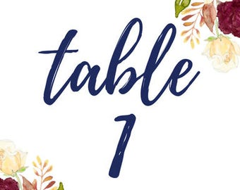 Table numbers 1-30