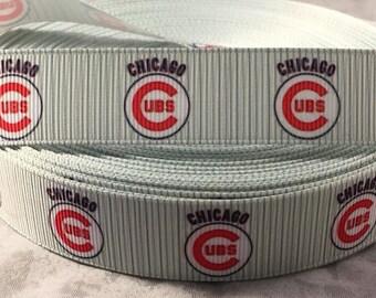 """Cubs Ribbon - 7/8"""" Grosgrain Ribbon Chicago Cubs Ribbon by yard, for hair bows,crafting and more! Baseball Ribbon - Cubs"""