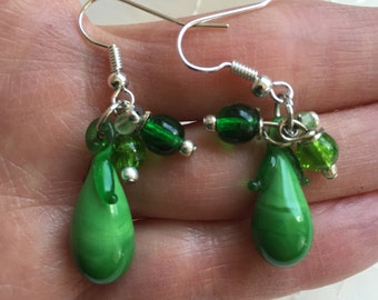 Eggplant Vegetable Green Glass Dangle Earrings Doodaba