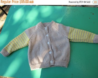ON SALE Hand Knitted Cardigan - Gorgeous Tan and Yellow Striped Sleeved Cardigan for Girl or Boy Aged around 1-2 years.