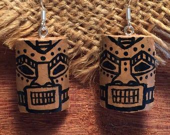 Hand painted Recycled Cork Tiki Earrings