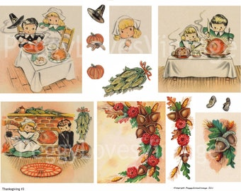 Thanksgiving 3 Digital Collage from Vintage Greeting Cards -  Instant Download - Cut Outs