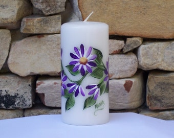 Hand Painted White Candle with Purple Daisies