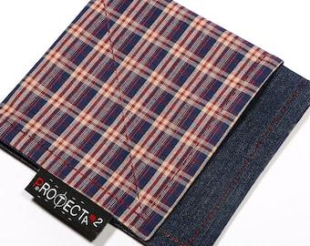 Blue Rust Plaid Hank > Handkerchief, Display Mat, EDC Dump
