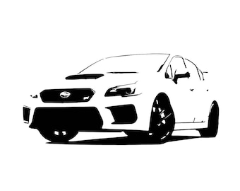 Subaru BRZ front view line drawing vector vectorized print