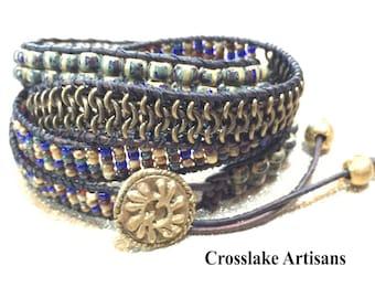 Beaded wrap bracelet, cuff bracelet, four-wrap bracelet, Chan Luu