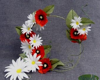 Blumendekoration Krepp Papier, Papier Gänseblümchen Und Mohnblumen,  Papierkunst, Hochzeitsdeko, Party