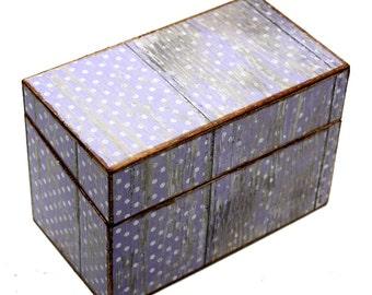 Wood Recipe Box Faux Barn Wood Purple Polka Dots Fits 4x6 Recipe Cards