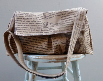 Large Bird Messenger Bag, Brown Cotton Hand printed, Adjustable Strap, Key Fob