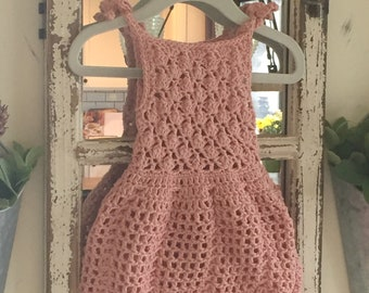 Crocheted baby dress, lacy dress, baby gift, sundress, baby girl dress