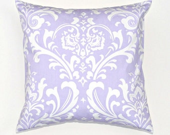 Lavender Damask Throw Pillow