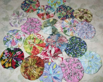 Fabric YoYos, 20 Floral Prints, 2 Inch Size,  Crafting, Quilting, Appliques