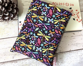 Dragonfly Book Buddy, Pretty Book Sleeve, Colourful Book Gift, Choose your Size Book Cover, Padded Book Bag, Bookish Accessories