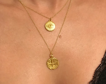 Gold Necklaces, Gold Evil Eye Necklace, Gold Disc Necklace, Evil Eye jewelry, Christian Disc Necklace, Christian Necklace, Gift for Her.