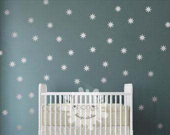 "Star Wall Decal / Sparkle Star Decal / Seeing Star wall decal / Starbursts wall decal / 2.5"" Star sticker / Kids wall decor / Nursery decal"