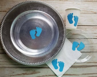 Baby feet blue and pink plates, cups and napkins, baby shower plates, cups, baby feet gender reveal plates, cups, napkins, gender reveal