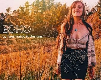 Crochet spring crop top pattern off shoulder long flowy sleeves- Echo