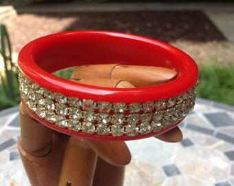 Vintage red Bakelite & rhinestone bangle bracelet