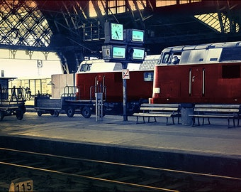 Dresden Railway Station, East Germany, 1990. Hand Coloured Photograph from 35mm Black and White Film Negative.