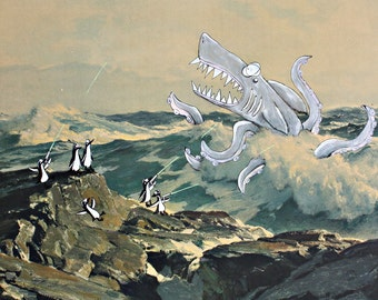 Sharktopus vs. Laser Penguins 8.5 x 11 Print