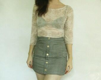 90s Gingham Mini Skirt XS