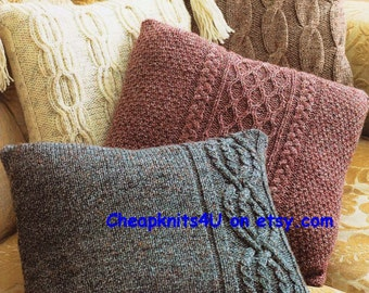 """PDF Knitting Pattern for Aran Cabled Cushions  - 4 styles  Size 16"""" x 16"""" - PDF of Vintage Style Knitting patterns - Instant Download"""