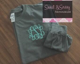 Custom Embroidered Monogrammed Sweatshirt Sleeve Shirt, Monogram Sweatshirt, Personalized Sweatshirt, embroidered sweatshirt