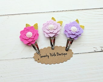 Felt Flower Clips,Toddler Snap Clips,Baby Hair Clips,Girls Hair Clips,M2M Matilda Jane,Hydrangea Hair Clip,Pink Lavender,Felt Hair Bows