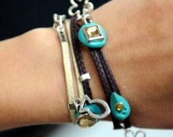 Luck charm bracelet wrap lucky cameo bracelet vanilla brown turquoise talisman by redbracelet on etsy