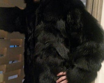 MEN'S BASIC BLACK!New Real Black FoX Fur Hooded Coat!