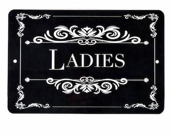 Ladies Room Sign- Wedding Sign - Restaurant Sign - 12x8 Sign - Restroom Sign  -