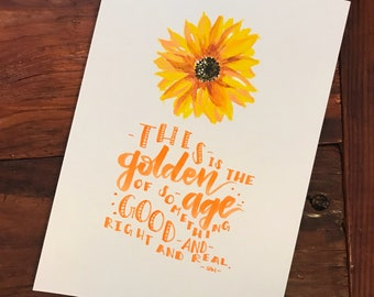 Sunflower Acrylic Painting Handlettered Taylor Swift Quote