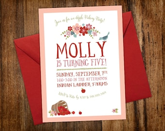 Apple Picking Birthday Party Invitation    Pink, Red, Blue Flowers, Blue Bird & Apples