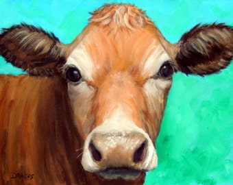 Jersey Cow Art Print, Jersey, Fawn Dairy Cow on Teal, Painted by Dottie Dracos,Various Sizes