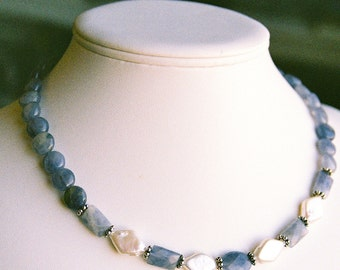Necklace - Blue Lavender Iolite with Freshwater Pearl Kites and Rounds