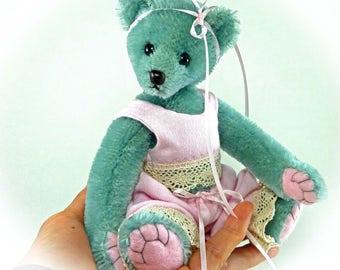 Riley - Teddy Bear, Handmade, Stuffed Animal, Dressed Bear, Pink, OOAK, 7.5 Inches