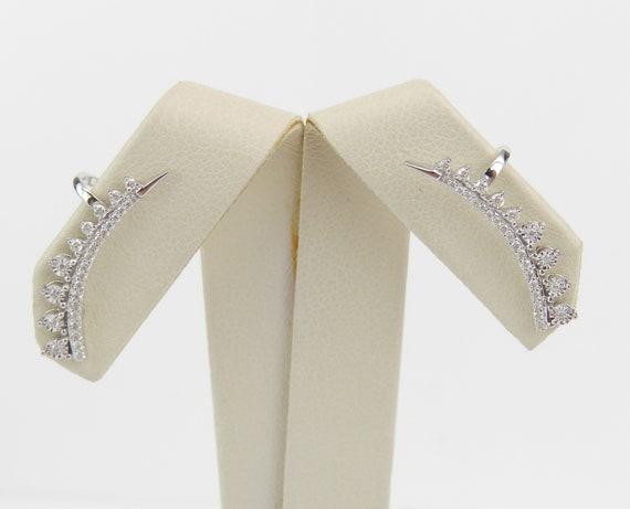 Diamond Ear Climber Earrings Crawler 14K White Gold Modern Wedding Gift